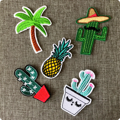 Summer palm tree tropical cactus embroidery iron on patch motif badge applique 5pcs set