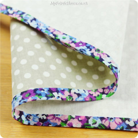 5m floral cotton bias binding - blue purple multicoloured