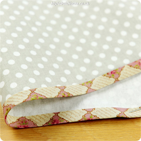 5m floral cotton bias binding - pink