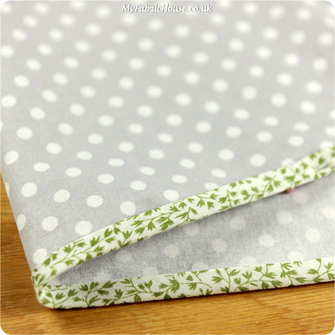 5m floral cotton bias binding - green