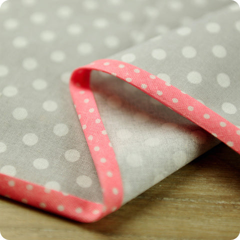 Polka dots - 5m pink cotton bias binding unfolded tape