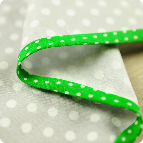 Polka dots - 5m green cotton bias binding unfolded tape