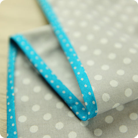 Polka dots - 5m blue cotton bias binding unfolded tape