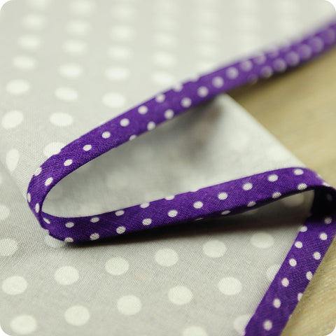 Polka dots - 5m purple cotton bias binding unfolded tape