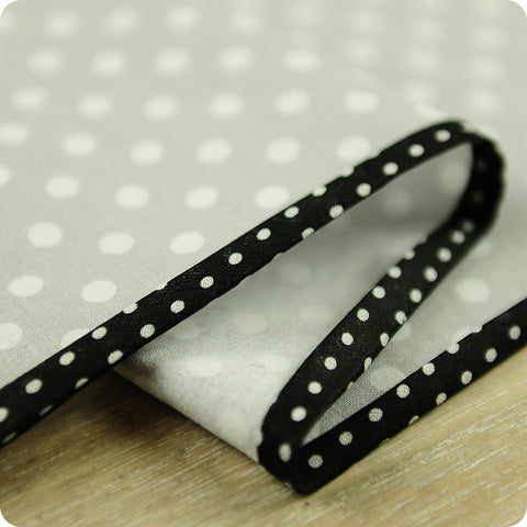 Polka dots - 5m black cotton bias binding unfolded tape