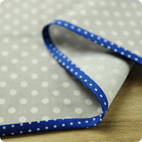 Polka dots - 5m navy blue cotton bias binding unfolded tape