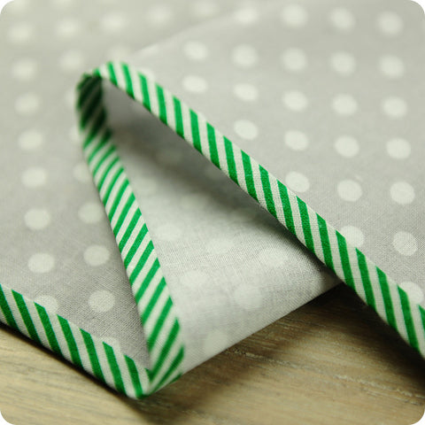 Stripe - 5m green cotton bias binding unfolded tape