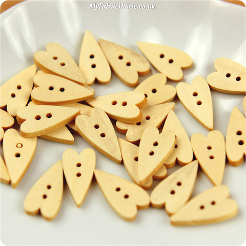 Wooden 2-Hole Buttons - Long Heart £3.29 10pcs | My Fabric House