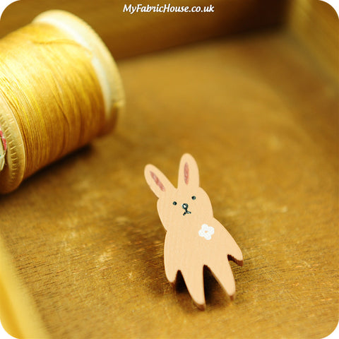 Woodland - silly rabbit wooden shank buttons - 5pcs BT1008-40