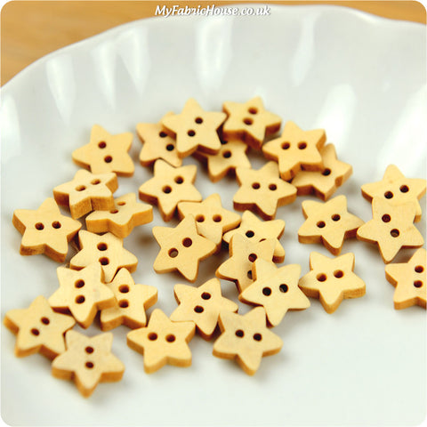 Wooden 2-Hole Buttons - Stars £2.99 10pcs | My Fabric House