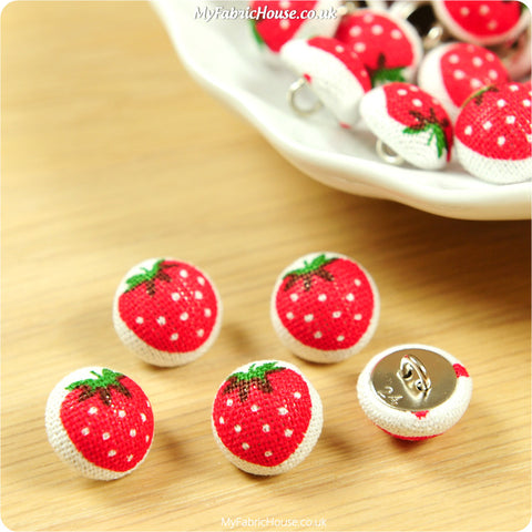 Fruits - red strawberry fabric covered buttons - 5pcs BT1201-05