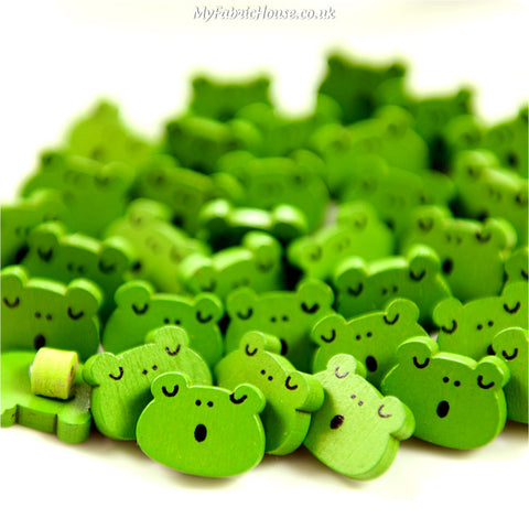 Zoo - green frogs wooden buttons - 10pcs BT1206-03