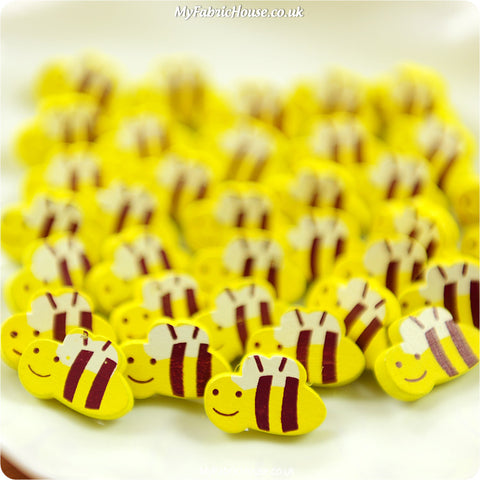 Bugs - honey bees wooden buttons - 10pcs BT1206-05