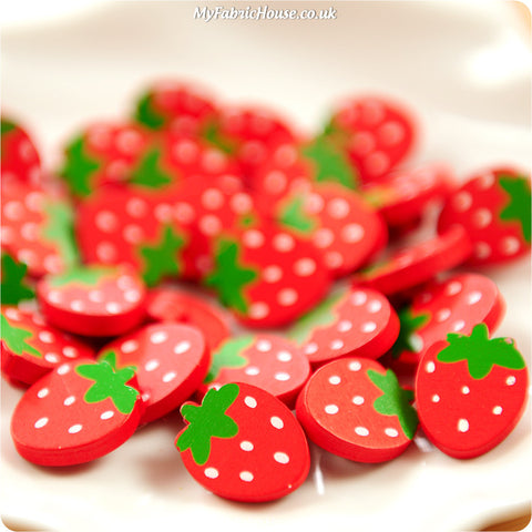 Fruits - red strawberry wooden buttons - 10pcs BT1206-06