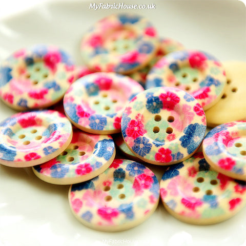 Ditsy - pink & purple floral wooden buttons -10pcs BT1206-07