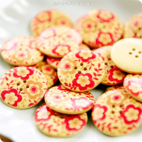Ditsy - red floral wooden buttons -10pcs BT1206-08