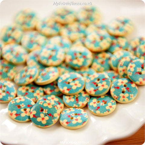 Ditsy - blue teal floral wooden buttons -10pcs BT1206-09