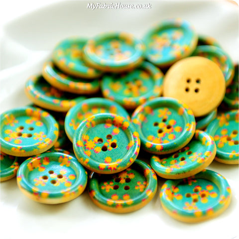 RS Ditsy - turquoise floral wooden buttons -10pcs BT1206-10