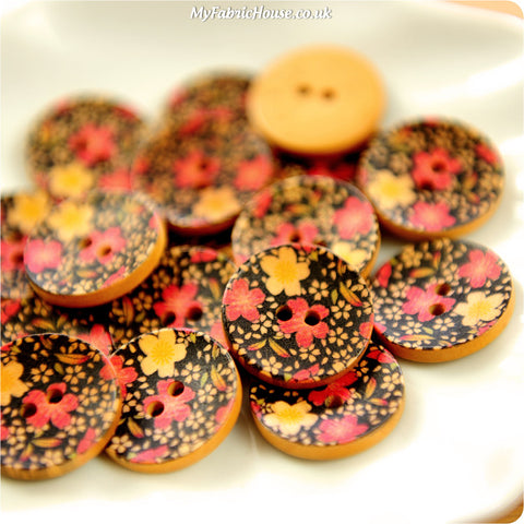 Ditsy - black & red floral wooden buttons -10pcs BT1206-12