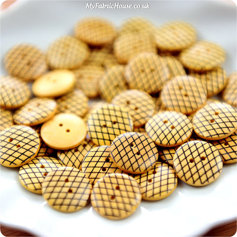 Retro fishnet wooden buttons - 10pcs BT1206-13