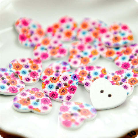 Wooden 2-Hole Buttons - heart floral £3.99 10pcs | My Fabric House