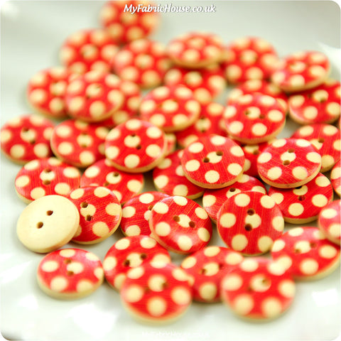 Polka dots - red spotty wooden buttons - 10pcs BT1206-17