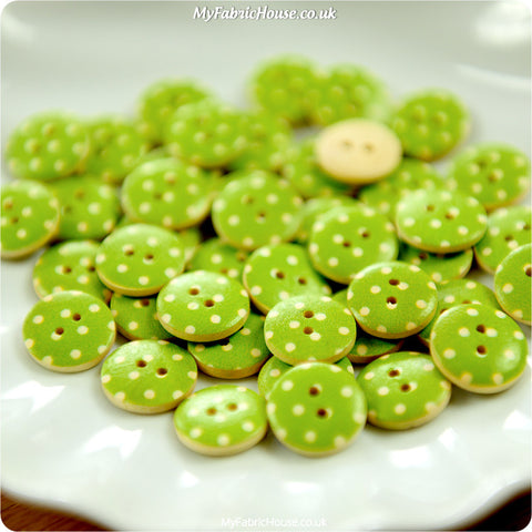Polka dots - green spotty wooden buttons - 10pcs BT1206-19