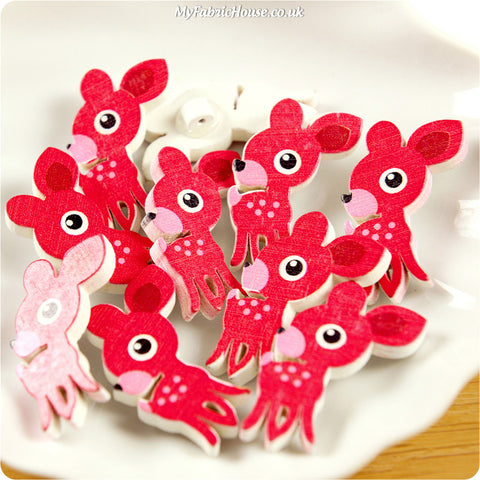 Wooden Shank Buttons - red deer £4.99 10pcs | My Fabric House
