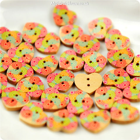 Wooden 2-Hole Buttons - heart retro £3.99 10pcs | My Fabric House