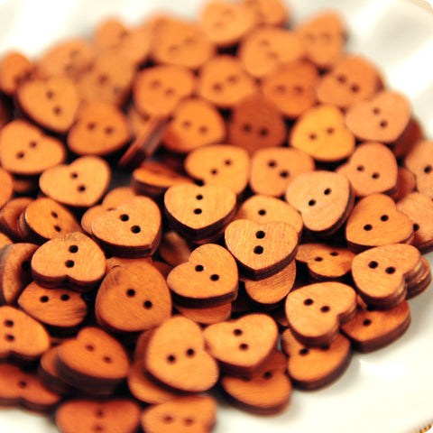Love - heart wooden buttons - 10pcs BT1306-07
