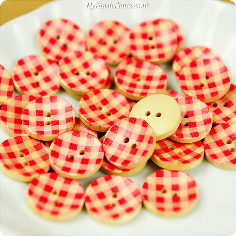 Wooden 2-Hole Buttons - Red Check £3.59 10pcs | My Fabric House