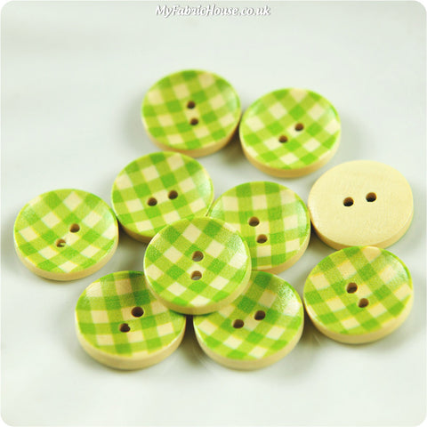Wooden 2-Hole Buttons - Green Check £3.59 10pcs | My Fabric House