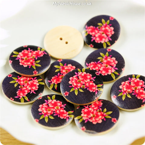 Wooden 2-Hole Buttons - black red floral £4.99 10pcs | My Fabric House