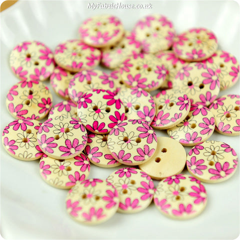 Wooden 2-Hole Buttons - pink floral £3.59 10pcs | My Fabric House