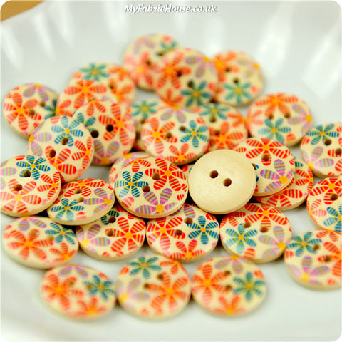 Wooden 2-Hole Buttons - pastel floral £3.59 10pcs | My Fabric House