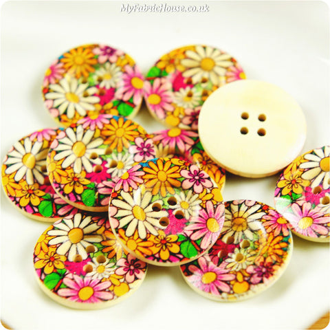 Wooden 2-Hole Buttons - bright floral £3.59 10pcs | My Fabric House
