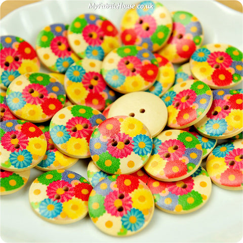 Wooden 2-Hole Buttons - bright floral £4.99 10pcs | My Fabric House