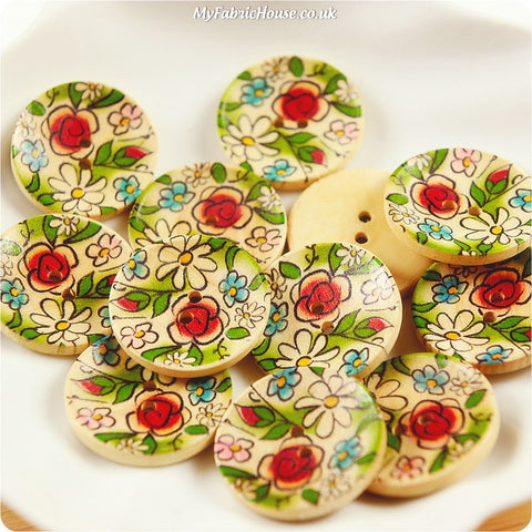 Wooden 2-Hole Buttons - multicolour floral £3.99 10pcs | My Fabric House