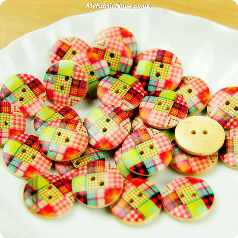 Wooden 2-Hole Buttons - patchwork £3.99 10pcs | My Fabric House