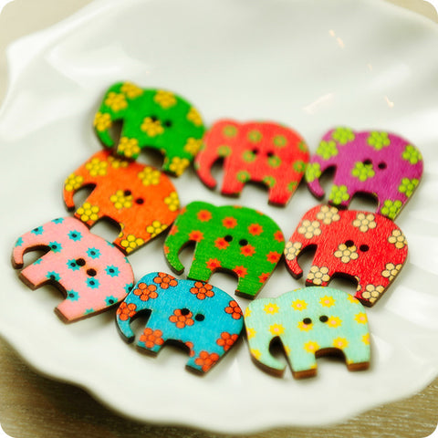 Zoo - multicolour assorted elephant wooden buttons -10pcs