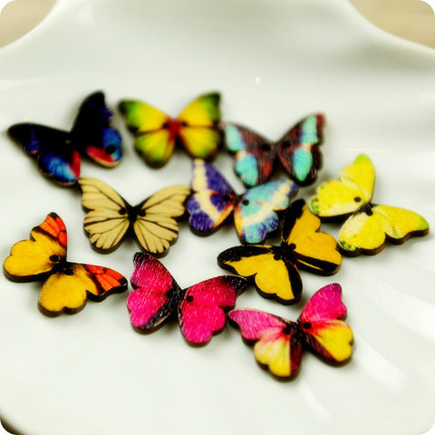 Butterfly - multicolour assorted butterflies wooden buttons -10pcs