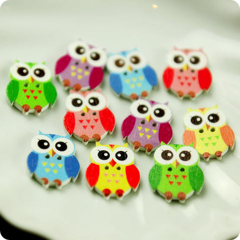 Owls - multicolour assorted owls wooden buttons -10pcs