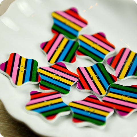 Stars - multicolour stripy wooden buttons -10pcs