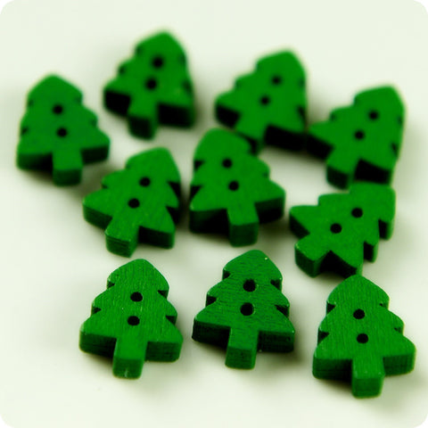 Christmas - green petite Xmas trees wooden buttons -10pcs