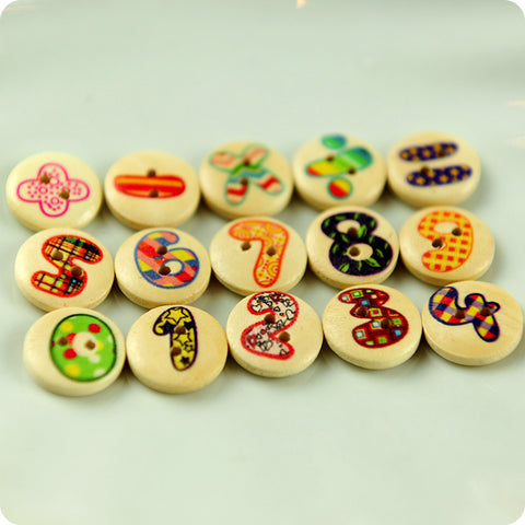 Numbers - multicolour Maths class wooden buttons -15pcs