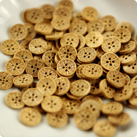 Flowers - intricate carved natural coconut buttons -10pcs