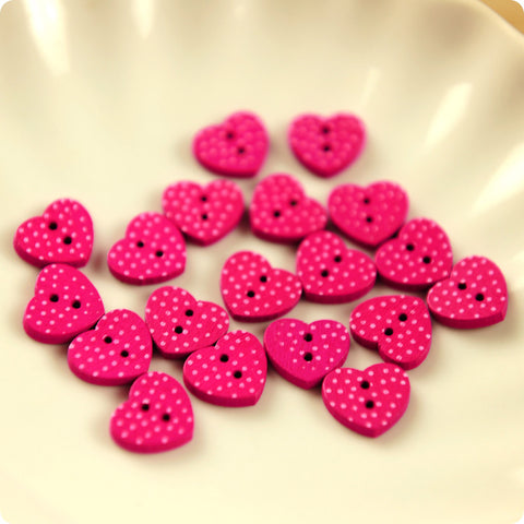 Love - pink polka dots wooden buttons -10pcs