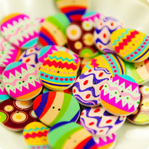 Easter - multicoloured assorted Easter eggs wooden buttons -10pcs