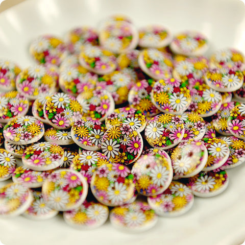 Ditsy - bright floral wooden buttons -10pcs
