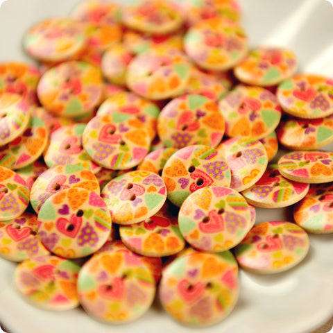 Love - pink multicoloured heart wooden buttons - 10pcs